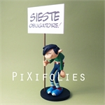 "Pixi FRANQUIN : Gaston / Collectoys Résine Gaston et sa Pancarte "" SIESTE OBLIGATOIRE """