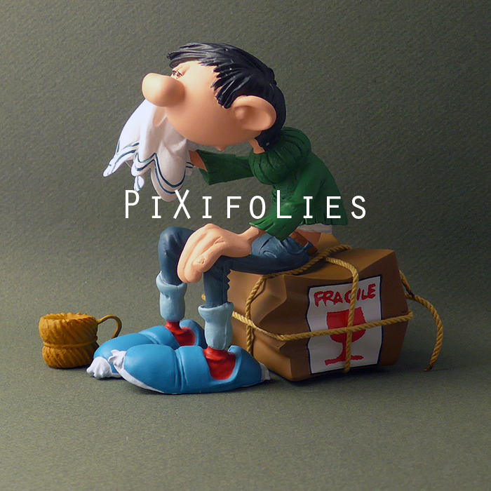 Pixi FRANQUIN : Gaston / Collectoys Résine Gaston Lagaffe : Caisse Fragile